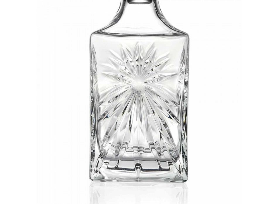 4 Whiskey Bottles with Eco Crystal Cap Square Design - Daniele