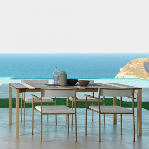 4 Casilda Talenti design upholstered outdoor dining armchairs