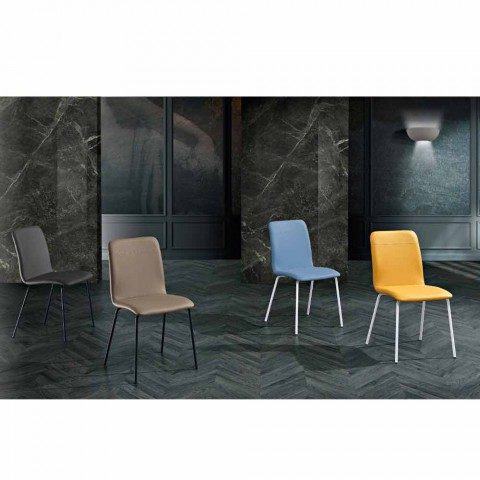 4 Kitchen or Living Room Chairs in Colored Ecoleather and Metal Design - Hermione