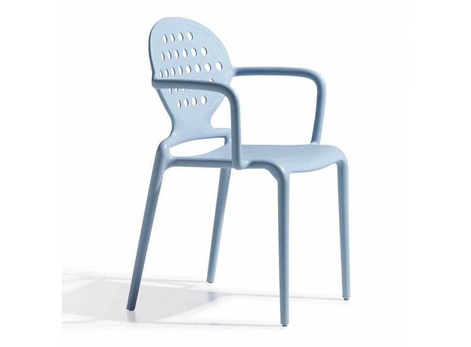 4 Outdoor Chairs with Stackable Armrests Made in Italy - Scab Design Colette
