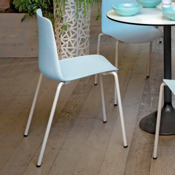 4 Stackable Outdoor Chairs in Metal and Polypropylene Made in Italy - Carita
