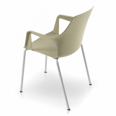 4 Stackable Outdoor Chairs in Polypropylene and Metal Made in Italy - Carlene