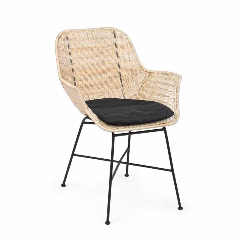 4 Outdoor Chairs in Woven Wicker and Steel Homemotion - Berecca