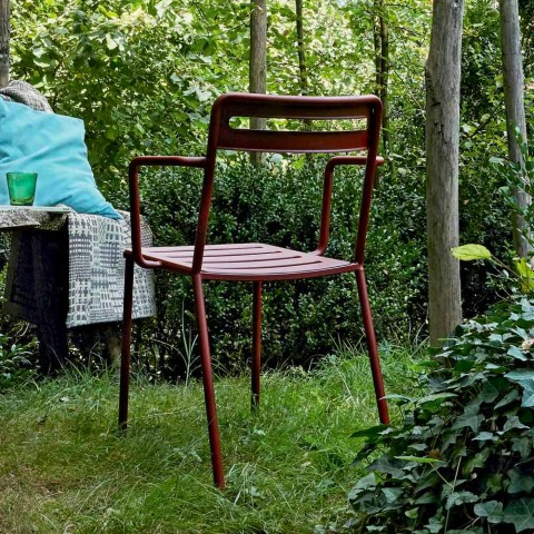 4 Outdoor Stackable Metal Chairs Made in Italy - Yolonda