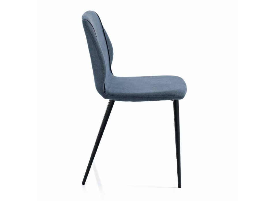 4 Design Lounge Chairs in Fabric with Edging and Anthracite Metal - Scarat