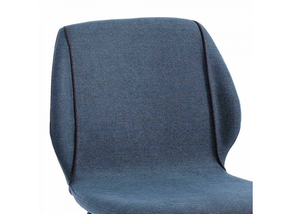 4 Elegant Modern Design Living Room Chairs in Fabric with Border - Scarat