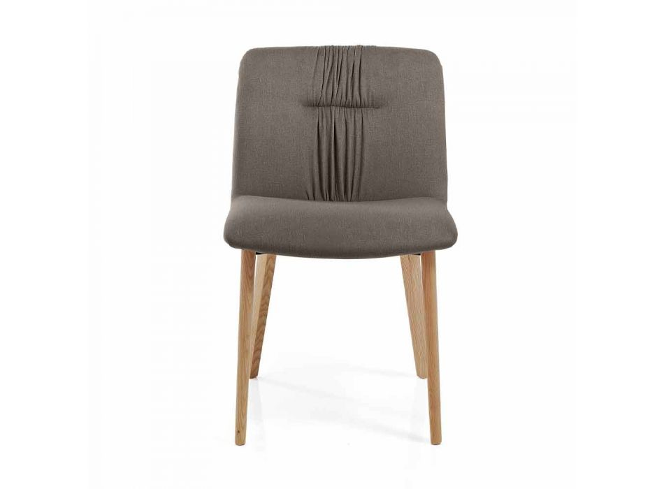 4 Living Room Chairs Upholstered in Fabric and Ash Legs Design - Florinda
