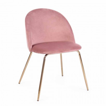 4 Design Chairs Upholstered in Velvet with Steel Structure Homemotion - Dania