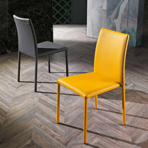 4 Elegant Modern Design Chairs in Colored Ecoleather for Living Room - Grenger