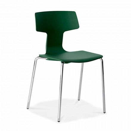 4 Stackable Chairs in Metal and Polypropylene Made in Italy - Clarinda