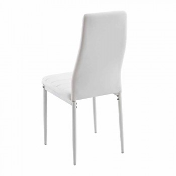 4 Modern Dining Room Chairs in Imitation Leather and Metal Legs - Spiga