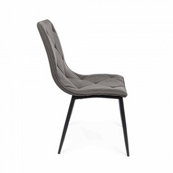 4 Modern Chairs Covered in Leatherette with Steel Base Homemotion - Daisa