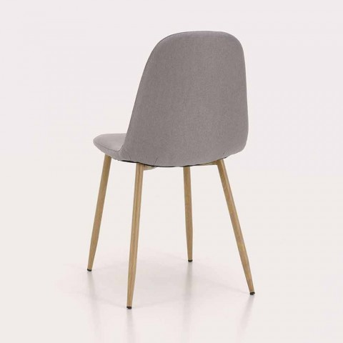 4 Dining Room Chairs with Fabric Seat and Metal Structure - Pampa