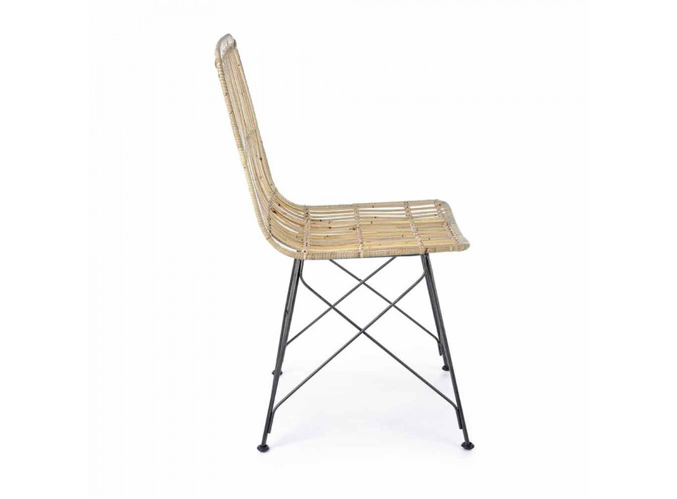 4 Dining Room Chairs in Steel and Weave by Kubu Homemotion - Kendall