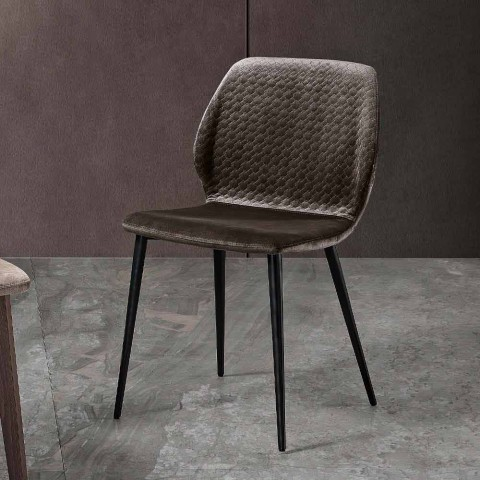 4 Dining Room Chairs in Quilted Velvet and Anthracite Metal - Scarat