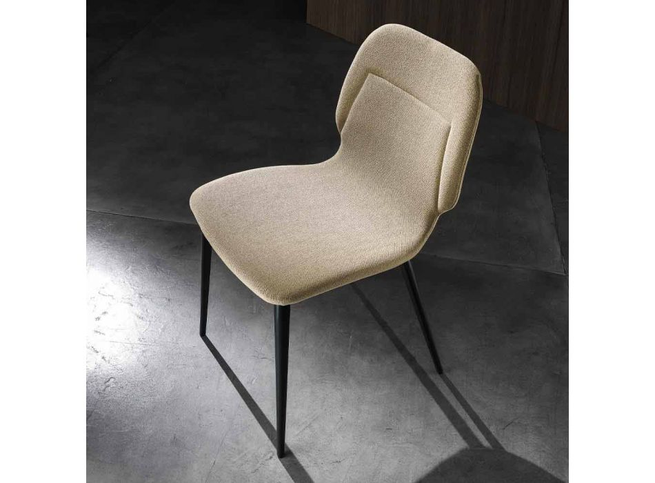 4 Living Room Chairs in Colored Fabric and Anthracite Base Modern Design - Patrick