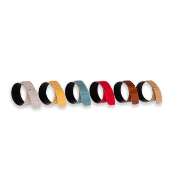 6 Napkin Rings in Modern Wood and Fabric Made in Italy - Potty