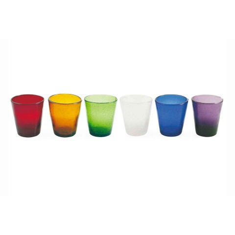 6 Glasses Water Craft Service of Colored Blown Glass - Yucatan