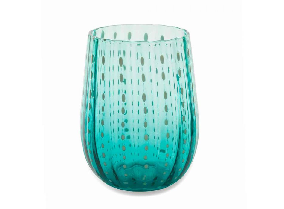 6 Colored and Modern Glass Glasses for Water Elegant Service - Persia