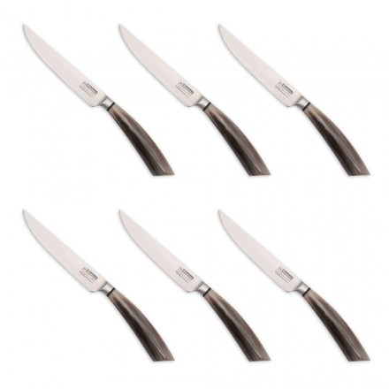 6 Handcrafted Steak Knives in Horn or Wood Made in Italy - Zuzana