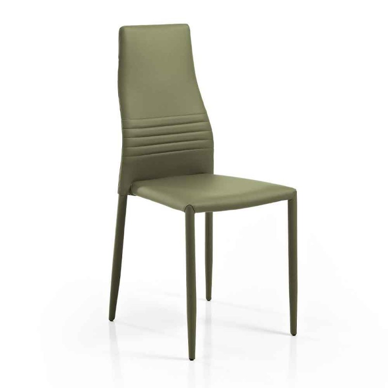 6 Stackable Chairs in Colored Eco-leather Modern Design for Living Room - Merida