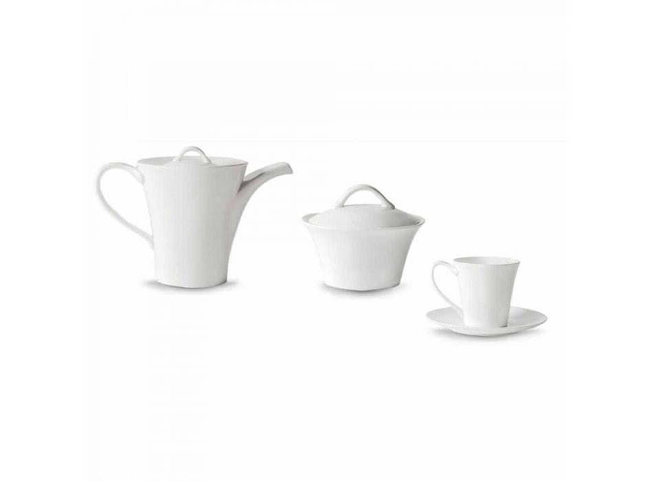 6 Porcelain Coffee Cups with Plate, Coffee Pot and Sugar Bowl - Romilda