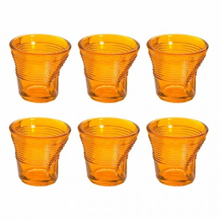 12 Coffee Cups Crumpled Colored Design Glass - Sarabi