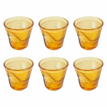 6 Coffee Cups Crumpled Glasses in Colored Design Glass - Sarabi