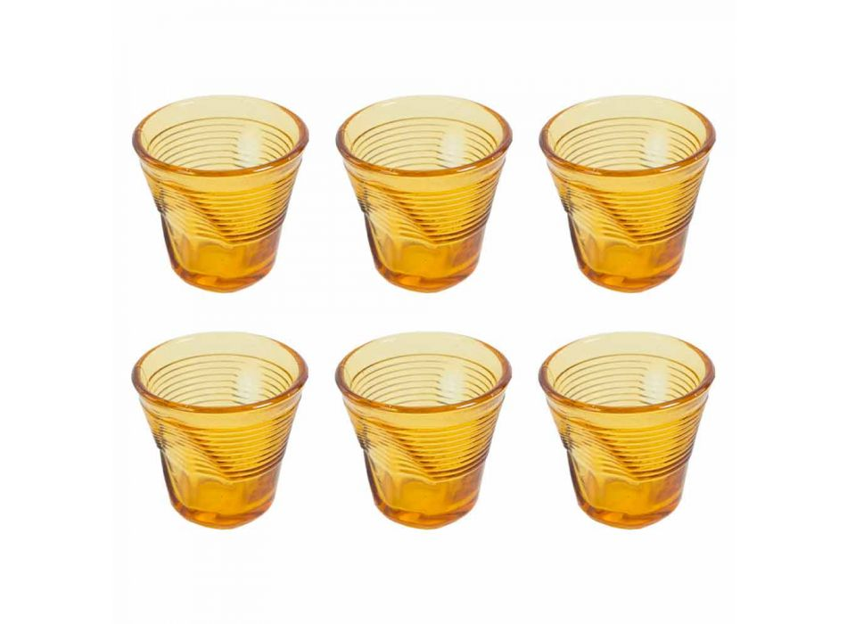 6 Coffee Cups Crumpled Glasses in Colored Design Glass - Sarabi