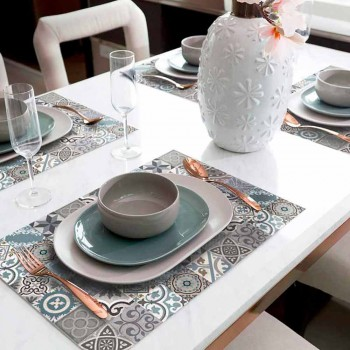 6 Washable American Placemats in Pvc and Polyester Patterned - Belita