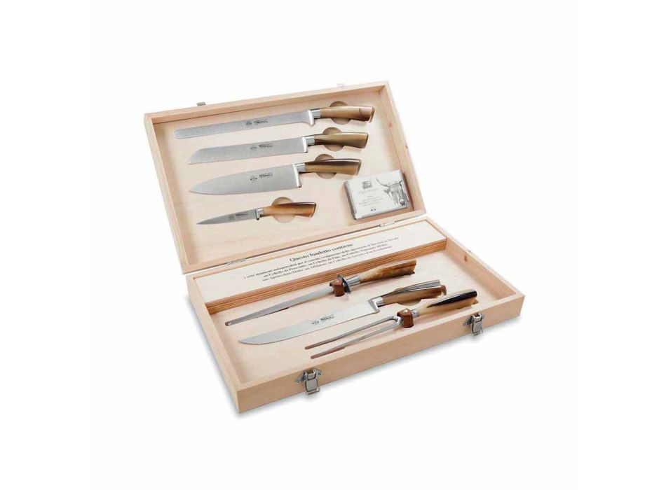 7 Berti stainless steel table knives exclusively for Viadurini - Sanzio