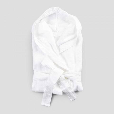 Heavy Linen White Bathrobe with Italian Luxury Hood - Palace