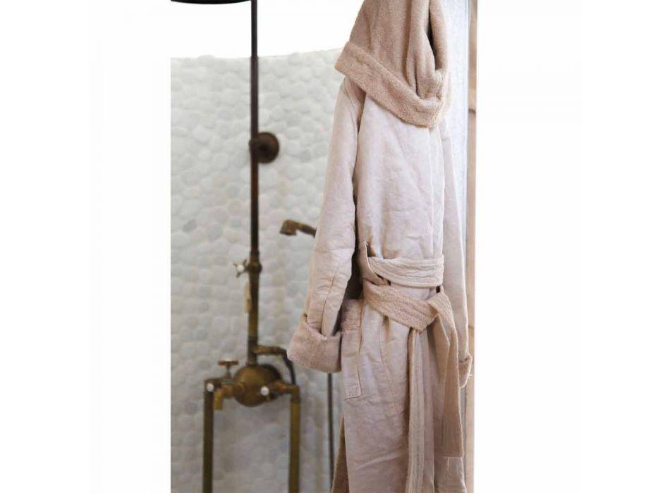 Reversible Beige Terry and Linen Bathrobe with Hood - Mirandola