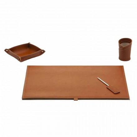 Accessories for Designer Desk in Bonded Leather, 4 Pieces - Aristotle