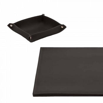 Desk Accessories in Regenerated Leather 4 Pieces Made in Italy - Aristotle