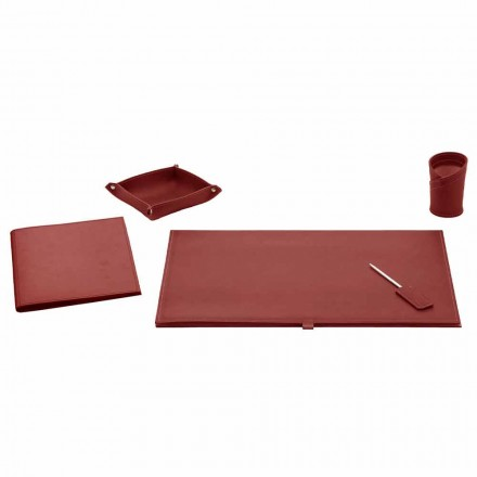 Office Accessories for Desk in Bonded Leather, 5 Pieces - Aristotle