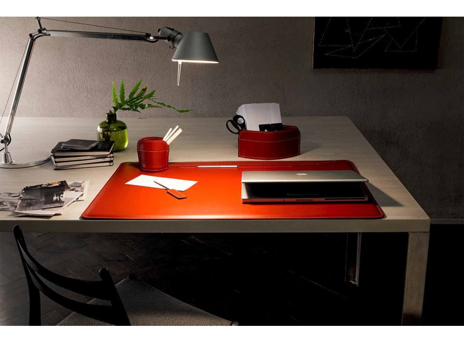 4 Piece Regenerated Leather Desk Accessories Made in Italy - Ebe