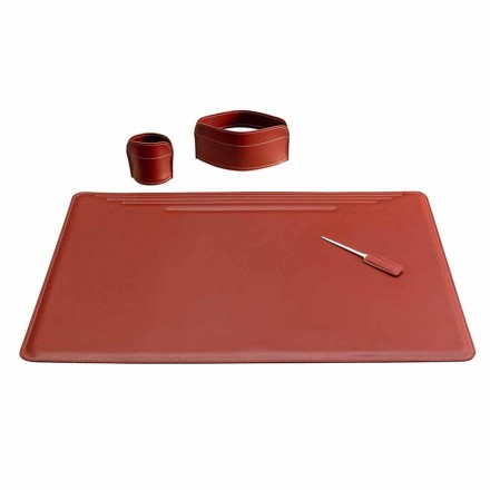 Accessories for Office Desk in Leather, 4 Pieces, Made in Italy - Ebe