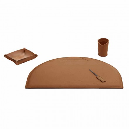 Office Accessories for Desk in Regenerated Leather, Made in Italy- Medea