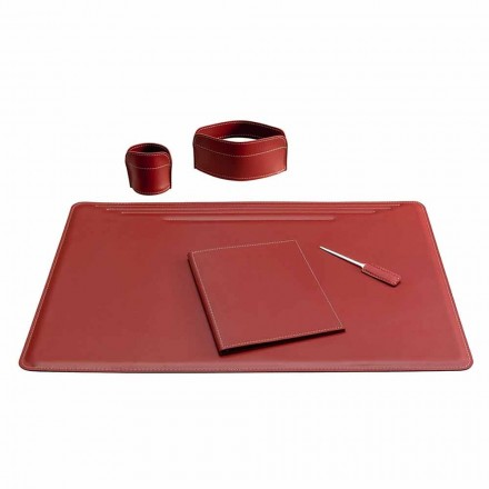 5 Piece Leather Desk Accessories Made in Italy - Ebe