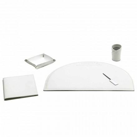Set of 5 Office Desk Accessories in Leather, Made in Italy - Medea