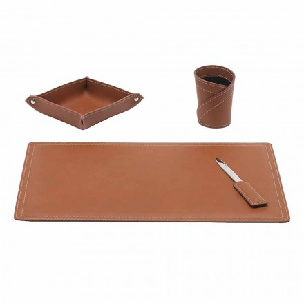 Accessories Regenerated Leather Desk, 4 Pieces, Made in Italy - Ascanio