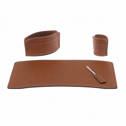 Accessories Office Desk in Regenerated Leather Made in Italy - Brando
