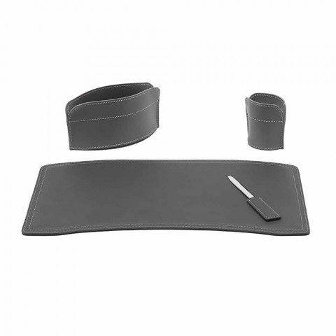 Accessories 4 Pieces Regenerated Leather Desk Made in Italy - Brando