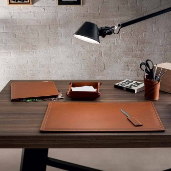 Accessories 5 Piece Regenerated Leather Desk Made in Italy - Ascanio