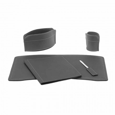 Office Accessories for Desk Made in Italy in Bonded Leather - Brando