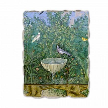Fountain and Bird (detail), Roman art, hand-painted fresco