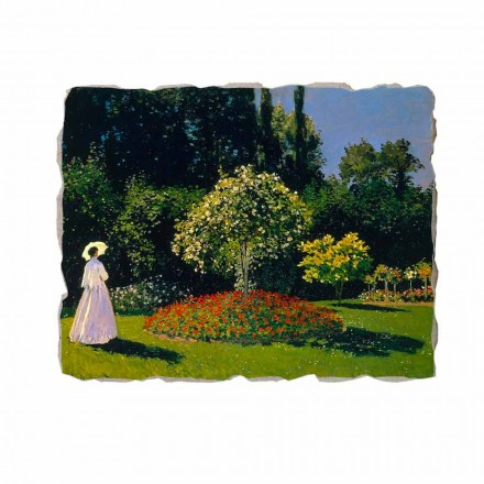 Woman in the garden by Claude Monet, hand-painted fresco