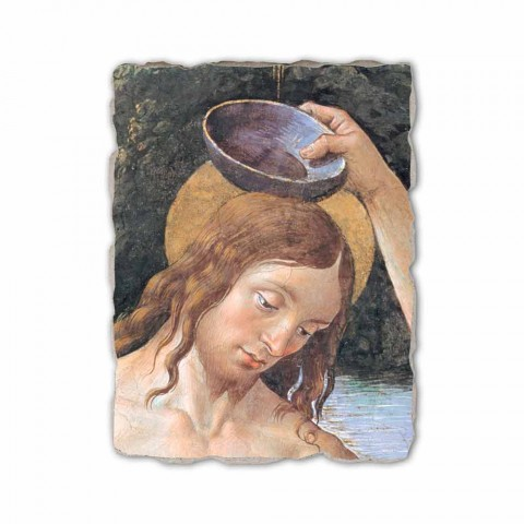 "Fresco handmade Perugino ""Baptism of Christ"""