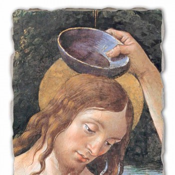 "large fresco handmade Perugino ""Baptism of Christ"""